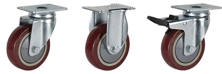 56系列 中型枣红单轴承改性聚氨酯轮