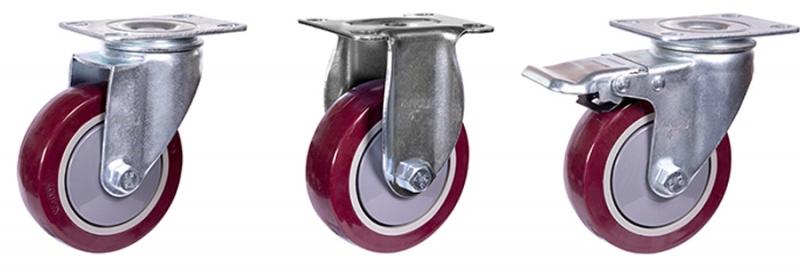 54系列 中型枣红单轴承改性聚氨酯轮