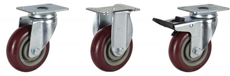 56系列 中型枣红双轴改性聚氨酯轮