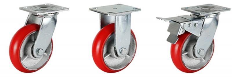 77系列 重型韩式铁芯聚氨酯轮(圆顶)