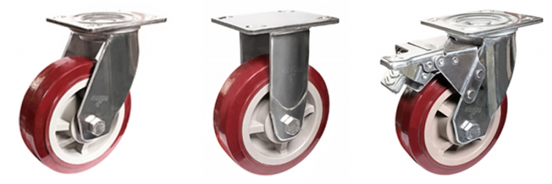 78系列 重型不锈钢枣红色改性聚氨酯轮